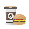 Hamburger with Meat and Iced Coffee on White Background