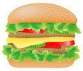 Hamburger with meat lettuce cucumber cheese and vector illustration of a tomato Royalty Free Stock Photos