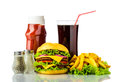 Hamburger menu with french fries tomato ketchup and cola drink Royalty Free Stock Images