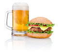 Hamburger and Mug of beer isolated on white background Royalty Free Stock Photo