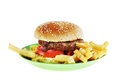 Hamburger in the plastic plate Stock Photography