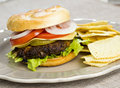 Hamburger with potato chips Royalty Free Stock Images