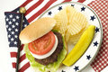 Hamburger and Potato Chips with Patriotic Theme Royalty Free Stock Photo