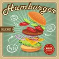 Hamburger retro poster Royalty Free Stock Photo