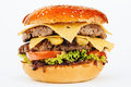 Hamburger sandwich with beef and cheese Royalty Free Stock Photo