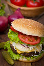 Hamburger on table close up Stock Images