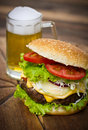 Hamburger on table close up Stock Photos