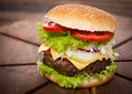 Hamburger on table close up Stock Photo