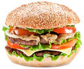 Hamburger on a white background Stock Photos