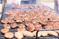 Hamburgers on barbeque Royalty Free Stock Photo