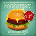 Hamburgers menu big hamburger with beef lettuce cheese and tomato in vintage style illustration Royalty Free Stock Photo