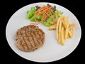 Hamburgers steak with french fries, bread and Vegetable isolated Royalty Free Stock Photo