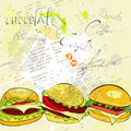 Hamburgers on stylized background Stock Images