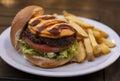 Hamburguer sandwich and french fries
