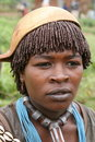 Hamer girl from Turmi with a squash hat, Ethiopia Royalty Free Stock Photo