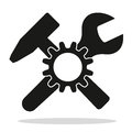 Hammer crossed wrench and gearwheel as a symbol Royalty Free Stock Images