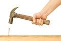 Hammer and Nail Using hammer Royalty Free Stock Photo