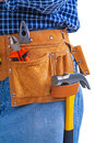 Hammer nippers and pliers in toolbelt Royalty Free Stock Photo