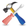 Hammer and screwdriver colorful illustration with for your design Stock Image