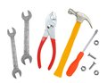 Hammer screwdriver and wrenches isolated on white background Royalty Free Stock Photo