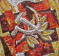 Hammer and sickle retro mosaic the symbols of the soviet union Royalty Free Stock Images