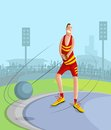 Hammer throw player cartoon style in vector Royalty Free Stock Image