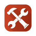 Hammer and wrench options flat design long shadow icon. Vector silhouette symbol. Royalty Free Stock Photo