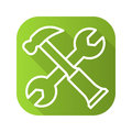 Hammer and wrench options flat linear long shadow icon. Vector line symbol. Royalty Free Stock Photo