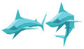 Hammerhead shark vector illustration of two sharks isolated Royalty Free Stock Image