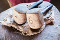 Hammers for smashing mulberry trees. Stock Photos