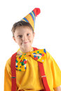 Hamming clown kid brightly dressed emotional boy portrait Stock Image