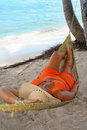 Hammock beach woman Royalty Free Stock Photos