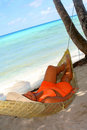 Hammock beach woman Royalty Free Stock Image
