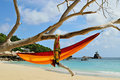 Hammock on beaches on Seychelles islands Royalty Free Stock Photos