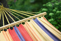 Hammock in green summer garden close up colorfull Royalty Free Stock Photography
