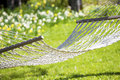 Hammock out on sunny yard Royalty Free Stock Photography