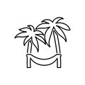 Hammock on palm icon. Beach and vacation icon vector Royalty Free Stock Photo