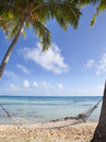 Hammock between palm trees on the seashore and the blue sky with clouds Royalty Free Stock Photo