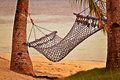 Hammock at Sunset Beach Stock Images