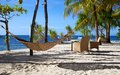 Hammock on a white sand tropical beach on Malapascua island, Philippines Stock Photography