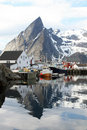 Hamnoy's boat and mounts Stock Image