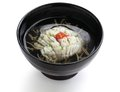 Hamo wan japanese cuisine clear broth with pike conger eel and junsai water shield Royalty Free Stock Images