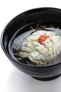 Hamo wan japanese cuisine clear broth with pike conger eel and junsai water shield Royalty Free Stock Photography