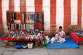 Hampi india young woman sell a lot of handmade accessories on flea market shop Stock Photography