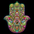 Hamsa hand psychedelic art made on vector graphic techinque using several multi colored elements patiently assembled like a puzzle Stock Photo