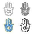 Hamsa icon in cartoon style isolated on white background. Religion symbol stock vector illustration. Royalty Free Stock Photo