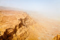 Hamsin a view to the judean desert in israel from masada fortress during sand storm Royalty Free Stock Images