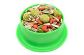 Hamster food in green tray on white background pets Royalty Free Stock Image
