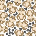 Hamster funny little animal eats sunflower seeds seamless pattern background vector character small rodent cute mouse Royalty Free Stock Photo
