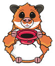 Hamster standing with leaky hat brown and asking for money Stock Photography